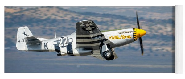 Yoga Mat featuring the photograph P51 Mustang Little Horse Gear Coming Up Friday At Reno Air Races 5x7 Aspect Signature Edition by John King