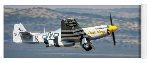 Yoga Mat featuring the photograph P51 Mustang Little Horse Gear Coming Up Friday At Reno Air Races 5x7 Aspect by John King