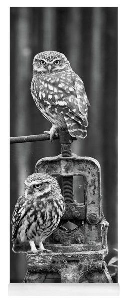 Little Owls Black And White Yoga Mat