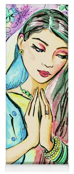Yoga Mat featuring the painting Little Pray by Eva Campbell