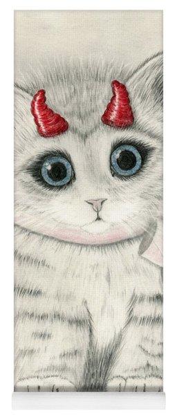Little Red Horns - Cute Devil Kitten Yoga Mat