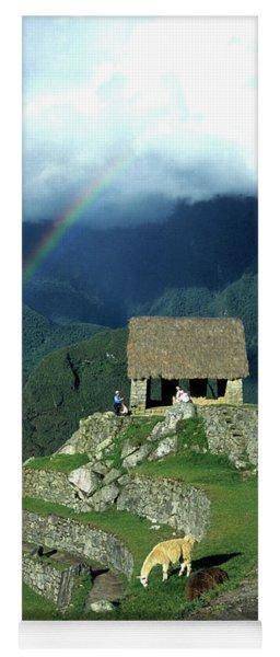 Llama And Rainbow At Machu Picchu Yoga Mat
