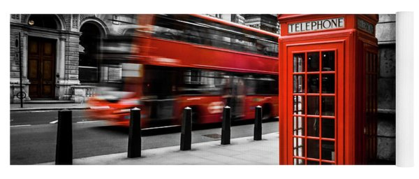 London Bus And Telephone Box In Red Yoga Mat