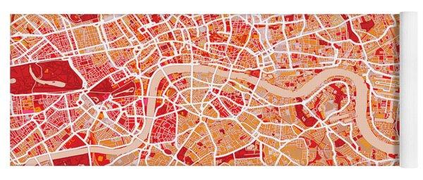 London Map Art Red Yoga Mat