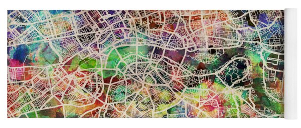 London Map Art Watercolor Yoga Mat