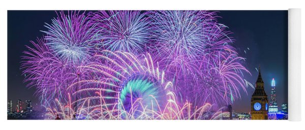 London New Year Fireworks Display Yoga Mat