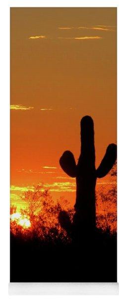 Lone Saguaro Sunrise Yoga Mat
