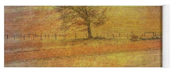 Lone Tree In Farm Field Winter Yoga Mat