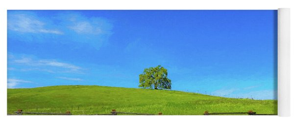 Lone Tree On A Hill Digital Art Yoga Mat