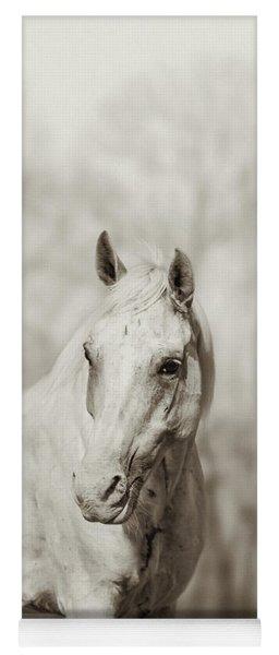 Lone White Wild Horse Yoga Mat