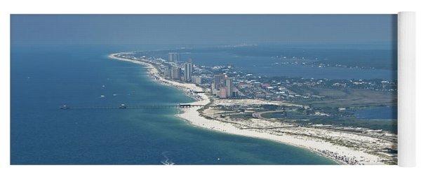 Long, Aerial, Beach View Yoga Mat