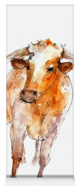 Longhorn 1 Watercolor Painting By Kmcelwaine Yoga Mat