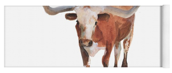Longhorn 17 Big Daddy Watercolor Painting By Kmcelwaine Yoga Mat