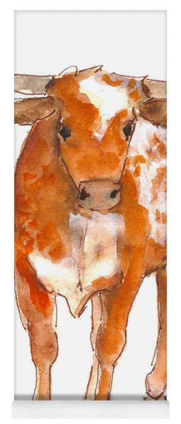 Texas Red Longhorn Watercolor Painting By Kmcelwaine Yoga Mat