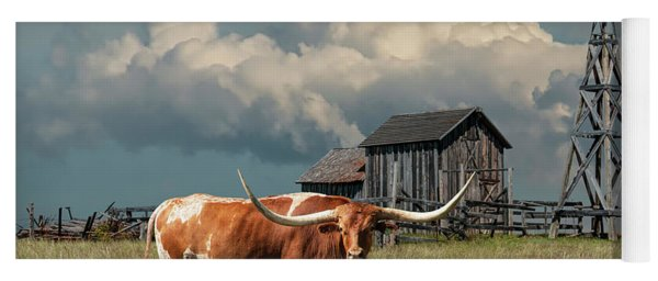 Longhorn Steer In A Prairie Pasture By Windmill And Old Gray Wooden Barn Yoga Mat