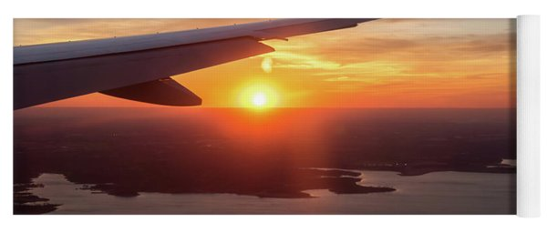 Looking At Sunset From Airplane Window With Lake In The Backgrou Yoga Mat
