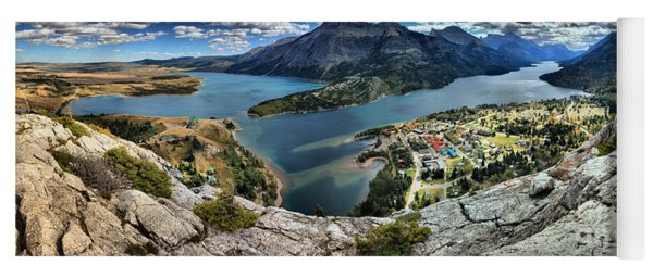 Looking Down On Waterton Lakes Yoga Mat