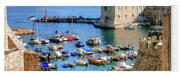 Looking Out Onto Dubrovnik Harbour Yoga Mat