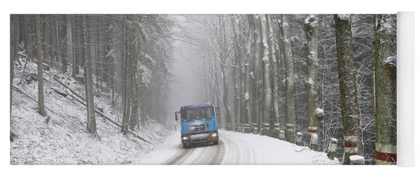 Yoga Mat featuring the photograph Lorry In A Frozen Woods by Dubi Roman
