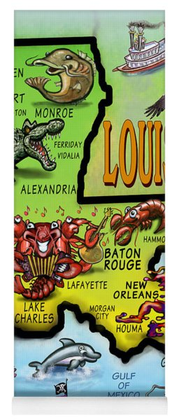 Louisiana Cartoon Map Yoga Mat