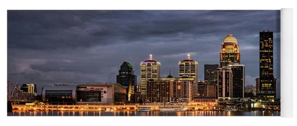 Yoga Mat featuring the photograph Louisville At Dusk by Andrea Silies