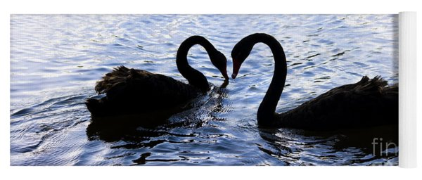 Love Birds On Swan Lake Yoga Mat