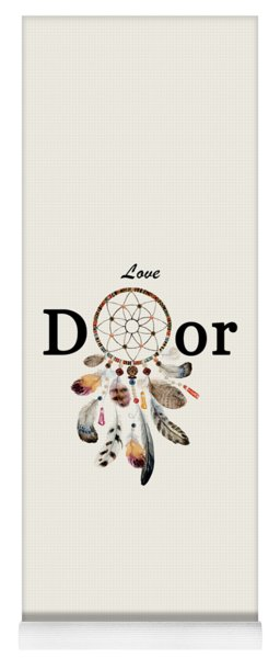 Yoga Mat featuring the painting Love Dior Watercolour Dreamcatcher by Georgeta Blanaru