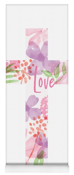 Love Floral Cross- Art By Linda Woods Yoga Mat