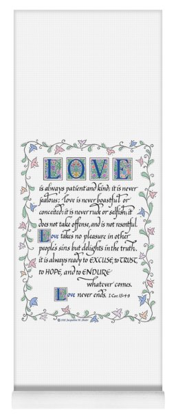 Love Is Always Patient-with Border Yoga Mat