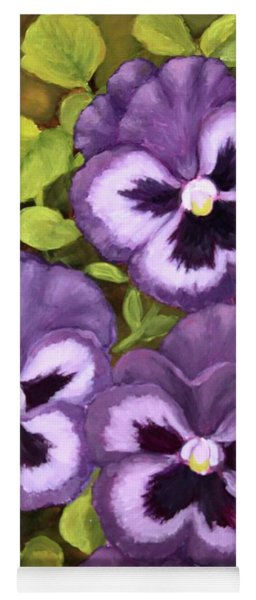 Lovely Purple Pansy Faces Yoga Mat