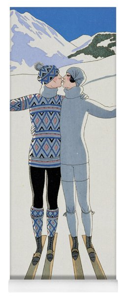 Lovers In The Snow Yoga Mat