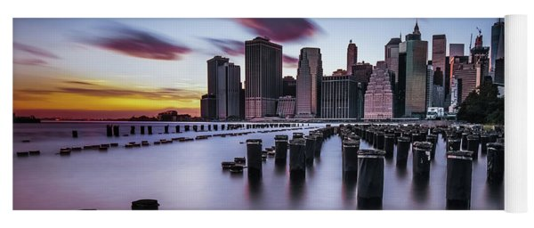 Lower Manhattan Purple Sunset Yoga Mat