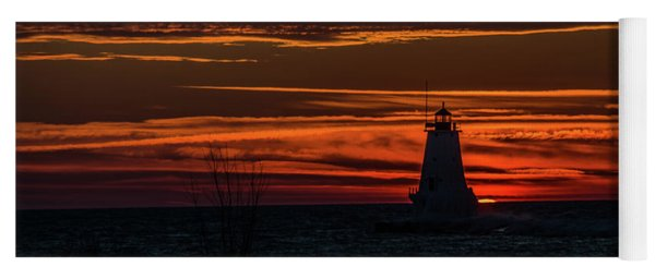 Ludington Light Silhouette At Sunset Yoga Mat