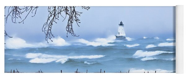 Ludington Winter Shore  Yoga Mat