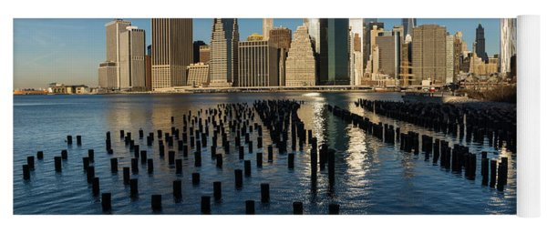 Luminous Blue Silver And Gold - Manhattan Skyline And East River Yoga Mat