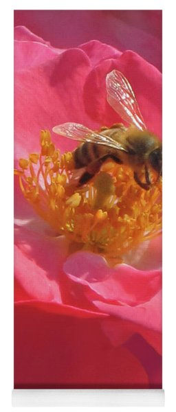 Yoga Mat featuring the photograph Luscious Rose With A Bee by Nancy Lee Moran