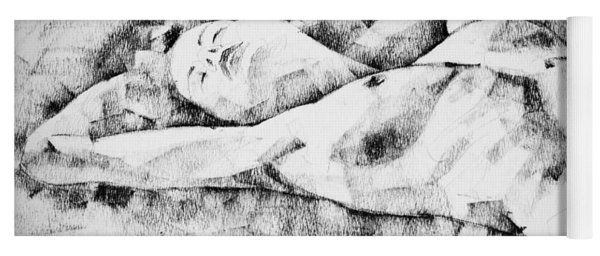Lying Woman Figure Drawing Yoga Mat