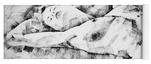 Lying Woman Figure Drawing Yoga Mat