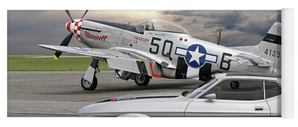 Mach 1 Mustang With P51  Yoga Mat