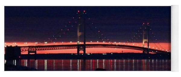 Mackinac Bridge On A June Evening Yoga Mat