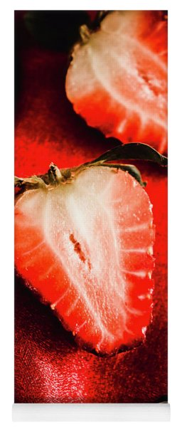 Macro Shot Of Ripe Strawberry Yoga Mat