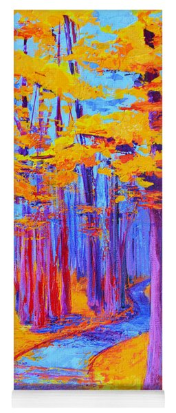 Magical Path - Enchanted Forest Collection - Modern Impressionist Landscape Art - Palette Knife Work Yoga Mat