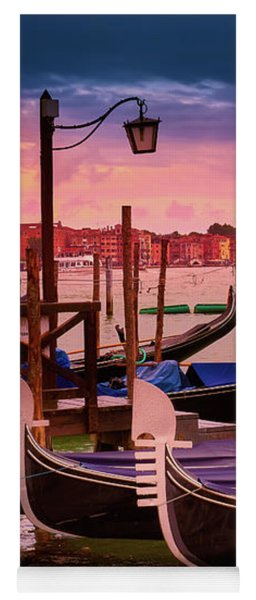 Gondolas And Cityscape At Sunset In Venice, Italy Yoga Mat