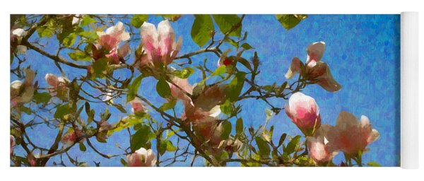 Magnolia Branches With Blue Sky Yoga Mat