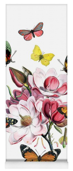 Magnolia With Butterflies Yoga Mat