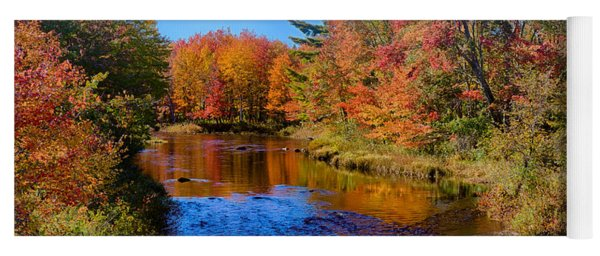 Maine Brook In Afternoon With Fall Color Reflection Yoga Mat
