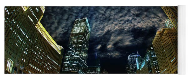 Majestic Chicago - Windy City Riverfront At Night Yoga Mat