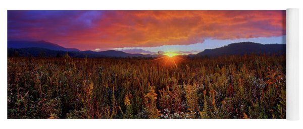 Majestic Sunset Over Cades Cove In Smoky Mountains National Park Yoga Mat
