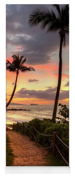 Yoga Mat featuring the photograph Makena Sunset Path by Susan Rissi Tregoning