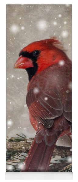 Yoga Mat featuring the photograph Male Cardinal In Snow #1 by Patti Deters